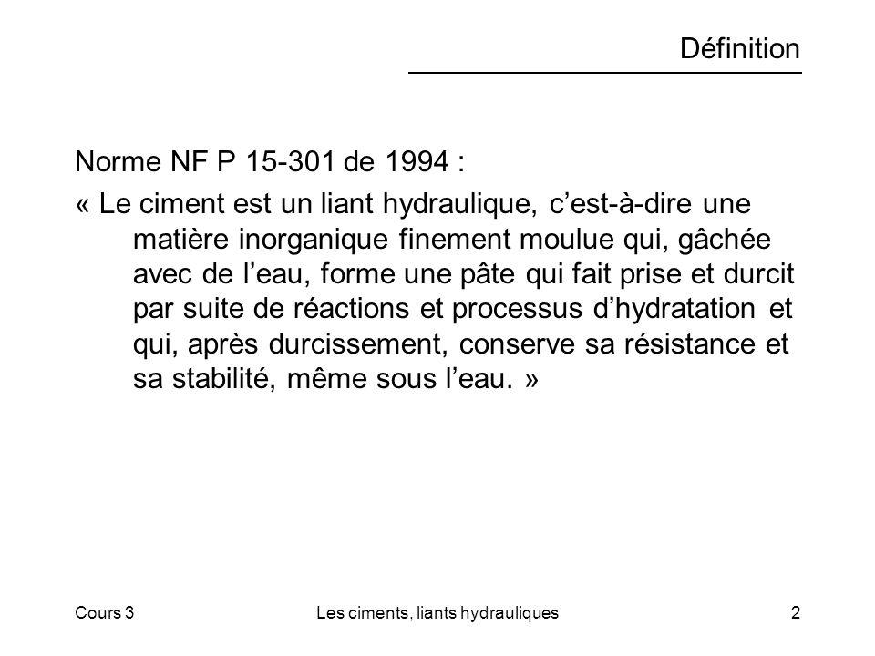 Cours 3Les ciments, liants hydrauliques2 Définition Norme NF P 15-301 de 1994 : « Le ciment est un liant hydraulique, cest-à-dire une matière inorganique finement moulue qui, gâchée avec de leau, forme une pâte qui fait prise et durcit par suite de réactions et processus dhydratation et qui, après durcissement, conserve sa résistance et sa stabilité, même sous leau.