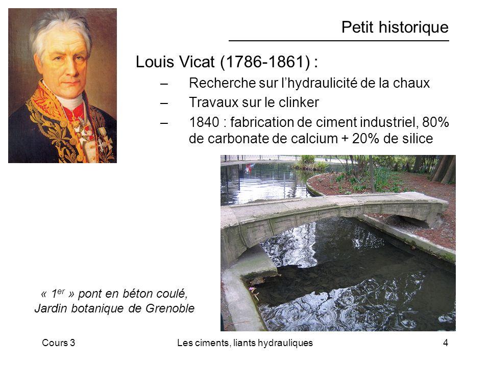 Cours 3Les ciments, liants hydrauliques4 Petit historique Louis Vicat (1786-1861) : –Recherche sur lhydraulicité de la chaux –Travaux sur le clinker –