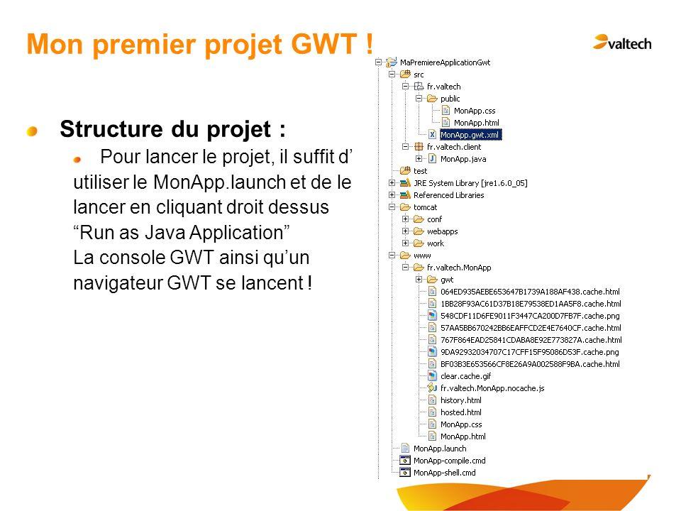 Structure du projet : Pour lancer le projet, il suffit d utiliser le MonApp.launch et de le lancer en cliquant droit dessus Run as Java Application La console GWT ainsi quun navigateur GWT se lancent .
