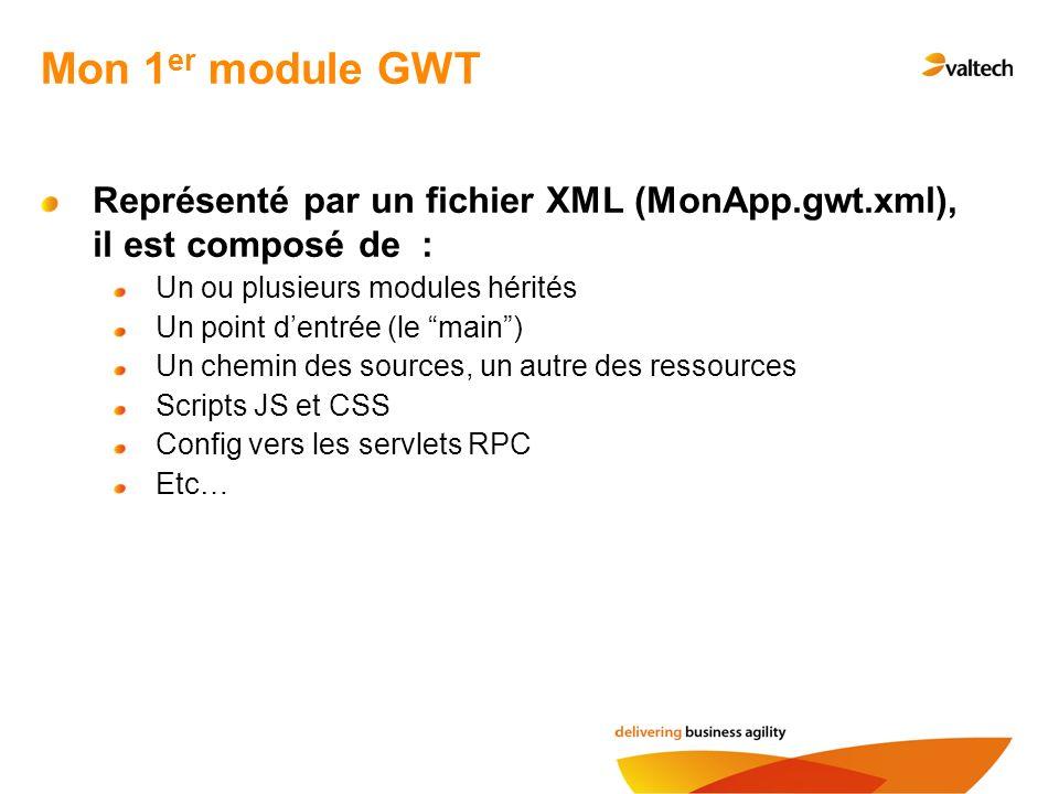 Mon 1 er module GWT Représenté par un fichier XML (MonApp.gwt.xml), il est composé de : Un ou plusieurs modules hérités Un point dentrée (le main) Un chemin des sources, un autre des ressources Scripts JS et CSS Config vers les servlets RPC Etc…