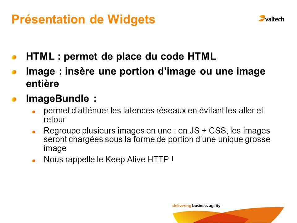 HTML : permet de place du code HTML Image : insère une portion dimage ou une image entière ImageBundle : permet datténuer les latences réseaux en évitant les aller et retour Regroupe plusieurs images en une : en JS + CSS, les images seront chargées sous la forme de portion dune unique grosse image Nous rappelle le Keep Alive HTTP .