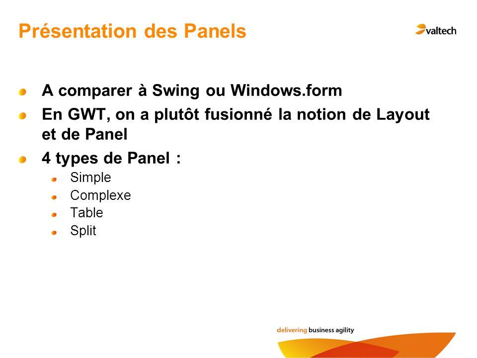 Présentation des Panels A comparer à Swing ou Windows.form En GWT, on a plutôt fusionné la notion de Layout et de Panel 4 types de Panel : Simple Complexe Table Split
