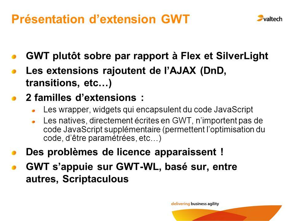 Présentation dextension GWT GWT plutôt sobre par rapport à Flex et SilverLight Les extensions rajoutent de lAJAX (DnD, transitions, etc…) 2 familles dextensions : Les wrapper, widgets qui encapsulent du code JavaScript Les natives, directement écrites en GWT, nimportent pas de code JavaScript supplémentaire (permettent loptimisation du code, dêtre paramétrées, etc…) Des problèmes de licence apparaissent .