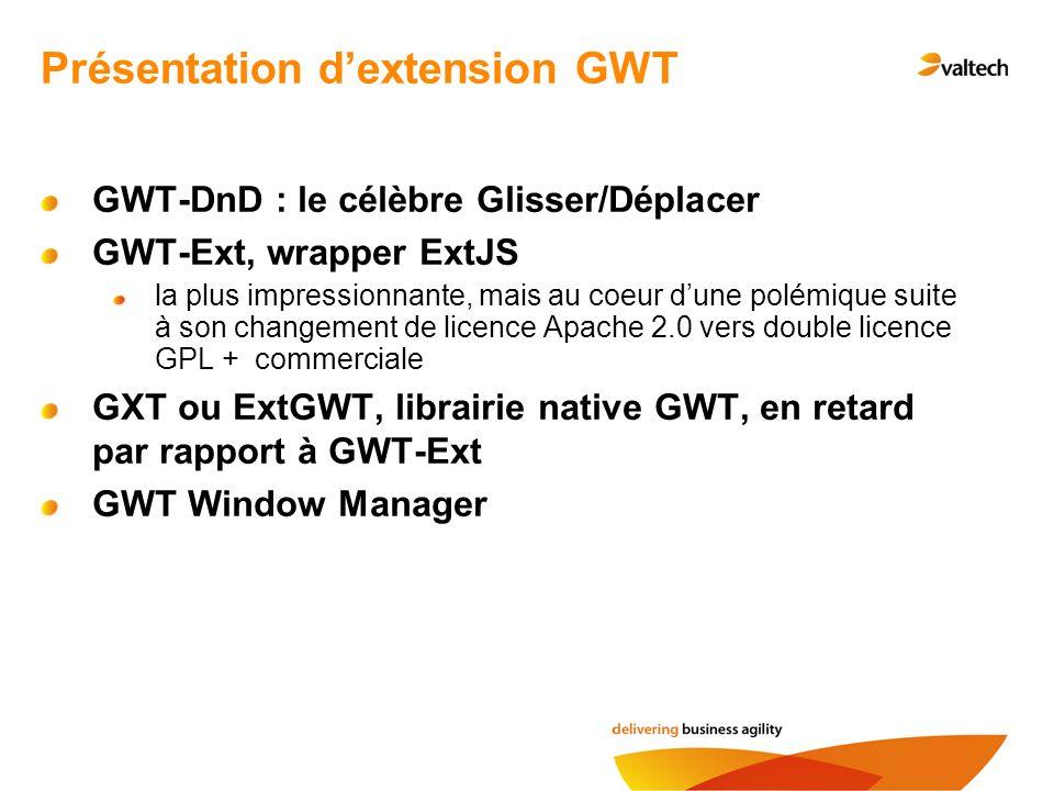 GWT-DnD : le célèbre Glisser/Déplacer GWT-Ext, wrapper ExtJS la plus impressionnante, mais au coeur dune polémique suite à son changement de licence Apache 2.0 vers double licence GPL + commerciale GXT ou ExtGWT, librairie native GWT, en retard par rapport à GWT-Ext GWT Window Manager Présentation dextension GWT