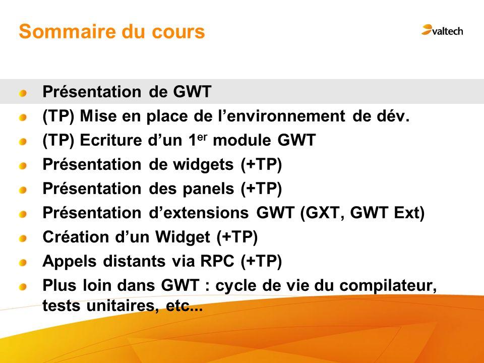 Sommaire du cours Présentation de GWT (TP) Mise en place de lenvironnement de dév.