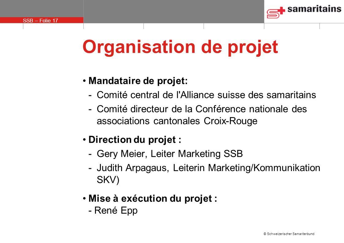 SSB – Folie 17 © Schweizerischer Samariterbund Organisation de projet Mandataire de projet: -Comité central de l'Alliance suisse des samaritains -Comi