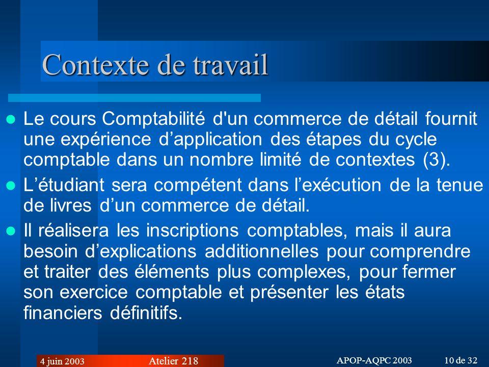 Atelier 218 4 juin 2003 APOP-AQPC 2003 10 de 32 Contexte de travail Le cours Comptabilité d un commerce de détail fournit une expérience dapplication des étapes du cycle comptable dans un nombre limité de contextes (3).