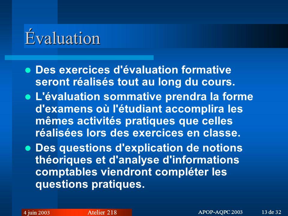 Atelier 218 4 juin 2003 APOP-AQPC 2003 13 de 32 Évaluation Des exercices d'évaluation formative seront réalisés tout au long du cours. L'évaluation so