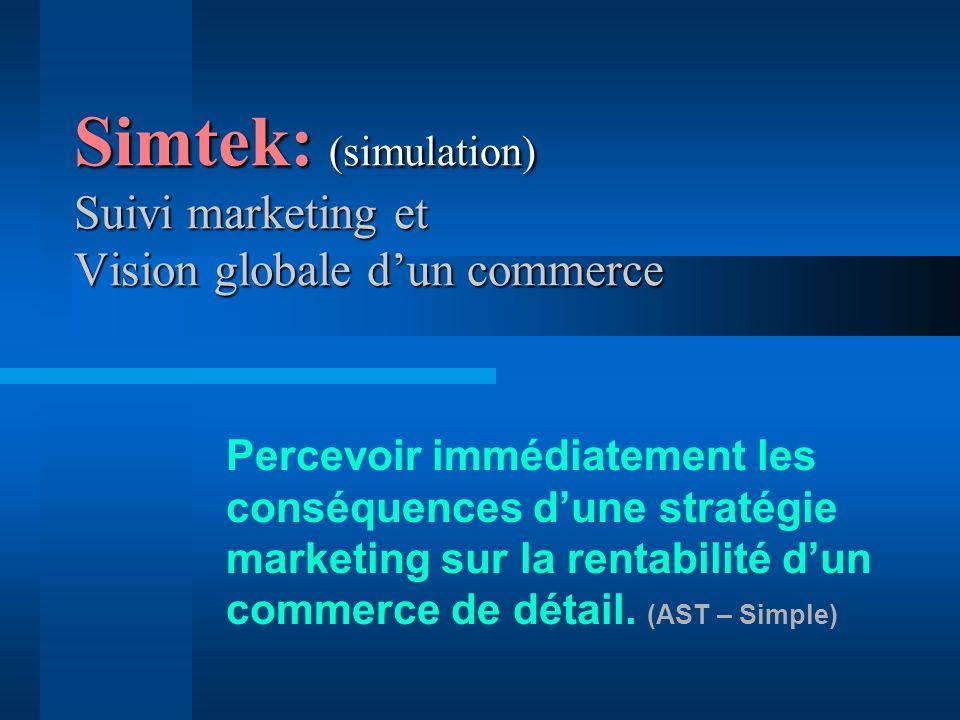 Simtek: (simulation) Suivi marketing et Vision globale dun commerce Percevoir immédiatement les conséquences dune stratégie marketing sur la rentabilité dun commerce de détail.