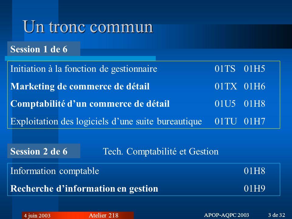 Atelier 218 4 juin 2003 APOP-AQPC 2003 3 de 32 Un tronc commun Initiation à la fonction de gestionnaire01TS01H5 Marketing de commerce de détail01TX01H