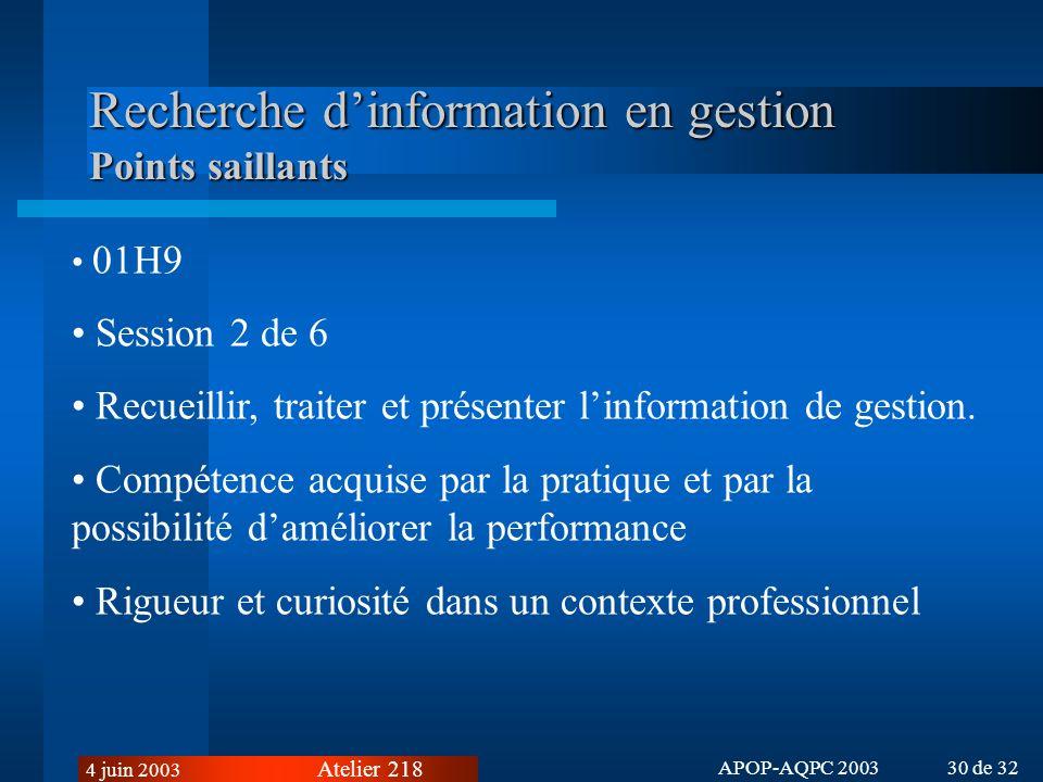 Atelier 218 4 juin 2003 APOP-AQPC 2003 30 de 32 Recherche dinformation en gestion Points saillants 01H9 Session 2 de 6 Recueillir, traiter et présenter linformation de gestion.