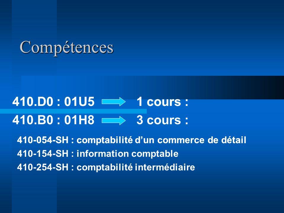Compétences 410.D0 : 01U5 1 cours : 410.B0 : 01H8 3 cours : 410-054-SH : comptabilité dun commerce de détail 410-154-SH : information comptable 410-254-SH : comptabilité intermédiaire 410.D0 : 01U5 1 cours :
