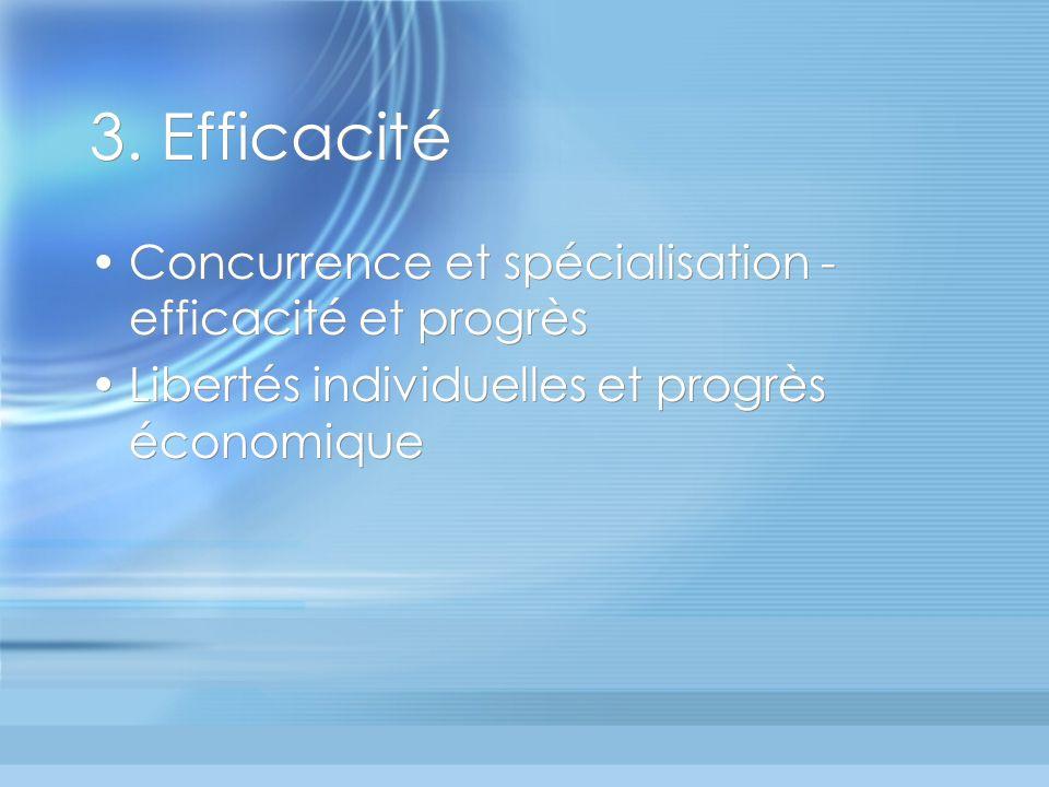 3. Efficacité Concurrence et spécialisation - efficacité et progrès Libertés individuelles et progrès économique Concurrence et spécialisation - effic