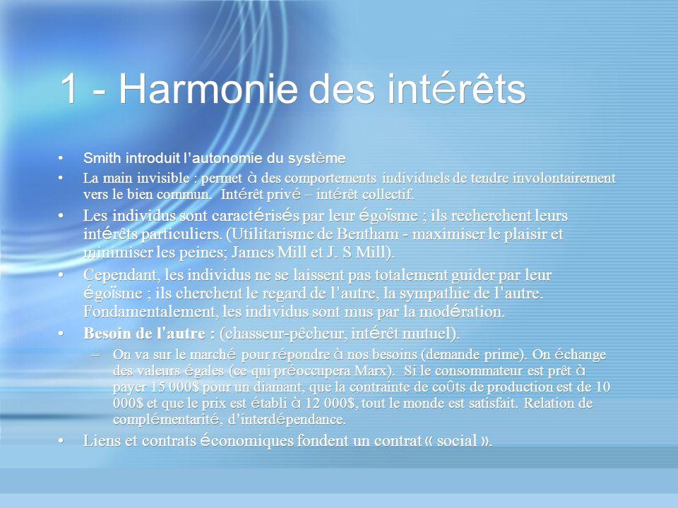 1 - Harmonie des int é rêts Smith introduit l autonomie du syst è me La main invisible : permet à des comportements individuels de tendre involontairement vers le bien commun.