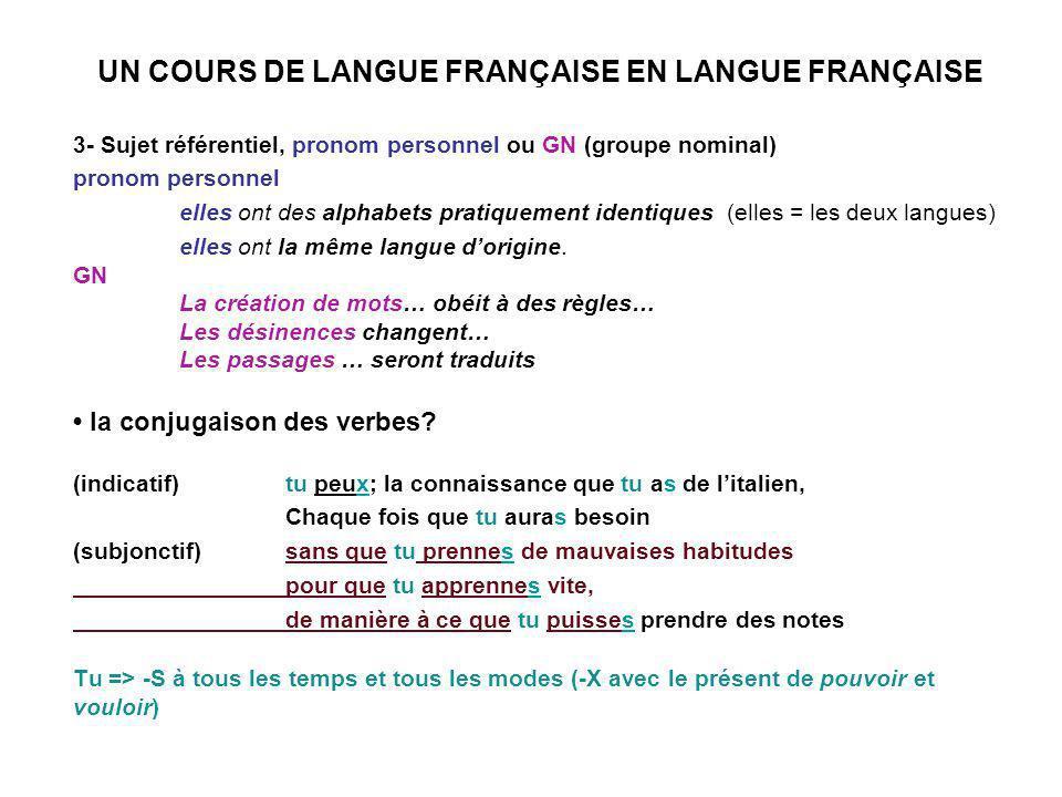 UN COURS DE LANGUE FRANÇAISE EN LANGUE FRANÇAISE 3- Sujet référentiel, pronom personnel ou GN (groupe nominal) pronom personnel elles ont des alphabets pratiquement identiques (elles = les deux langues) elles ont la même langue dorigine.