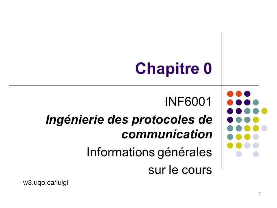 INF6001 Chap 0 2 Esprit du cours Un cours sur les méthodes de conception des protocoles de communication et les outils reliés Laccent sera sur la théorie, mais il y aura aussi mention des applications et des outils de génie logiciel Cours magistral, mais les projets des étudiants et la discussion de groupe joueront un rôle important