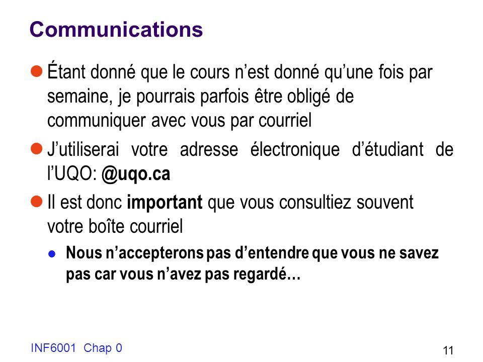 INF6001 Chap 0 11 Communications Étant donné que le cours nest donné quune fois par semaine, je pourrais parfois être obligé de communiquer avec vous