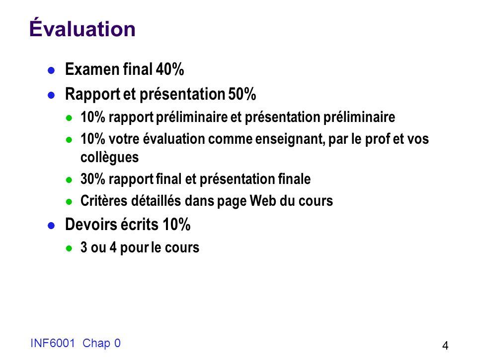 INF6001 Chap 0 4 Évaluation Examen final 40% Rapport et présentation 50% 10% rapport préliminaire et présentation préliminaire 10% votre évaluation co
