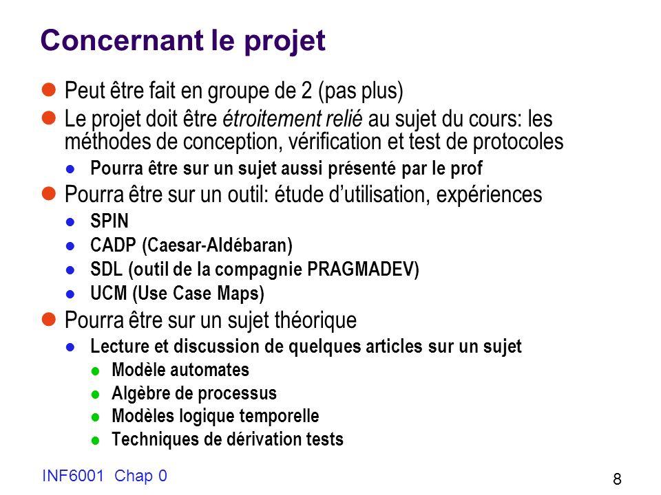 Quelques liens pour le projet (principalement outils) Notes de cours: à partir de ma page web http://w3.uqo.ca/luigi/INF6001/index.html SPIN documentation et outil: http://spinroot.com/spin/whatispin.html Outil disponible gratuitement CADP: CAESAR-ALDÉBARAN http://www.inrialpes.fr/vasy/cadp/ Outil disponible après requête formelle SDL http://www.pragmadev.com/ Je devrai commander loutil pour vous UCM http://www.usecasemaps.org/aboutucms.shtml Outil disponible à lUniversité dOttawa, si nécessaire je peux intervenir EN TOUT CAS, JE VOUS CONSEILLE DE COMMENCER VOTRE RECHERCHE DE PROJET TOUT DE SUITE.