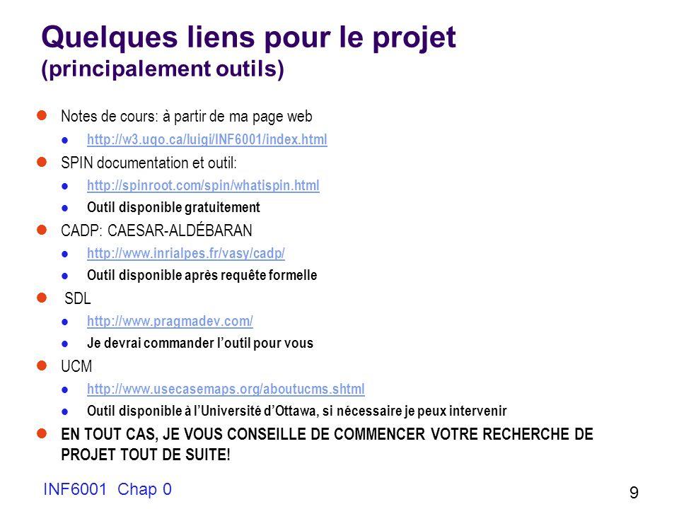 Quelques liens pour le projet (principalement outils) Notes de cours: à partir de ma page web http://w3.uqo.ca/luigi/INF6001/index.html SPIN documenta