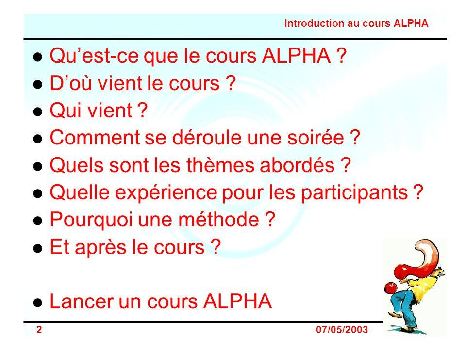Introduction au cours ALPHA 3 07/05/2003 Quest-ce que le cours ALPHA .