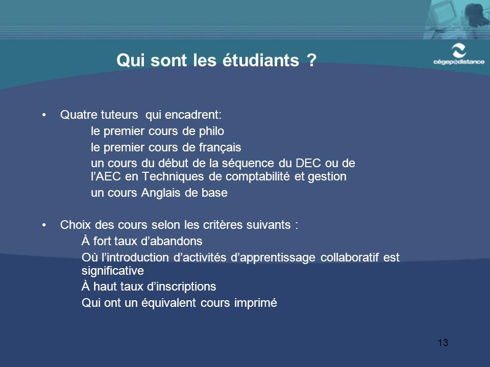 13 Qui sont les étudiants ? Quatre tuteurs qui encadrent: le premier cours de philo le premier cours de français un cours du début de la séquence du D