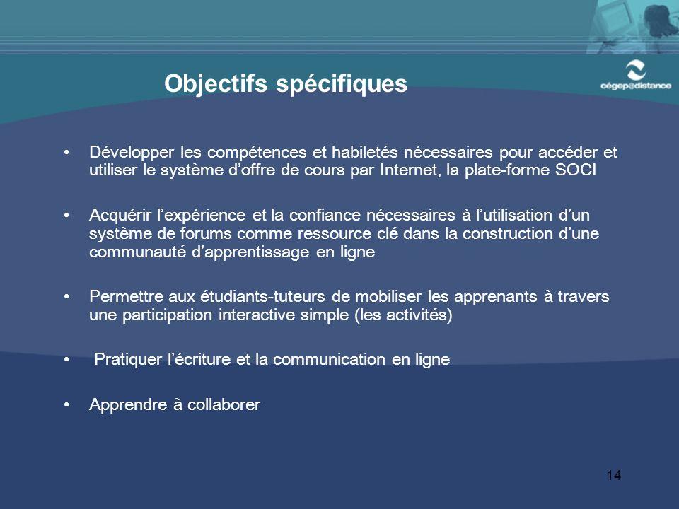 14 Objectifs spécifiques Développer les compétences et habiletés nécessaires pour accéder et utiliser le système doffre de cours par Internet, la plat