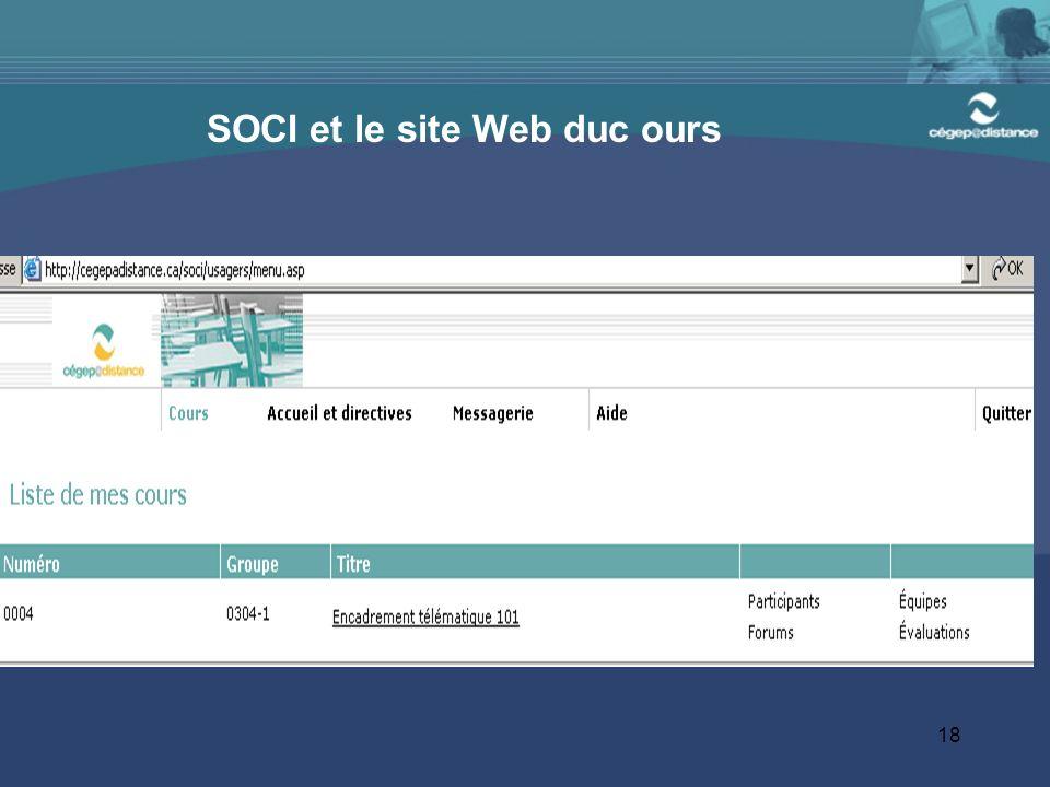 18 SOCI et le site Web duc ours