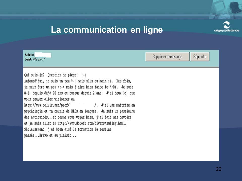 22 La communication en ligne