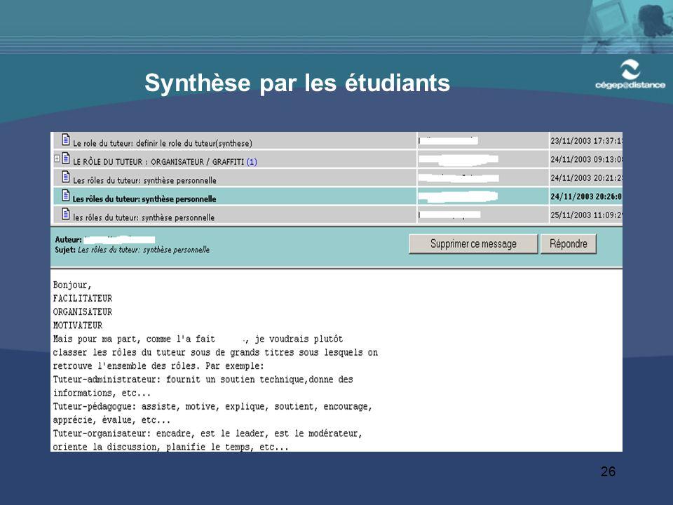 26 Synthèse par les étudiants