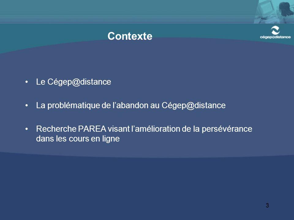 3 Contexte Le Cégep@distance La problématique de labandon au Cégep@distance Recherche PAREA visant lamélioration de la persévérance dans les cours en