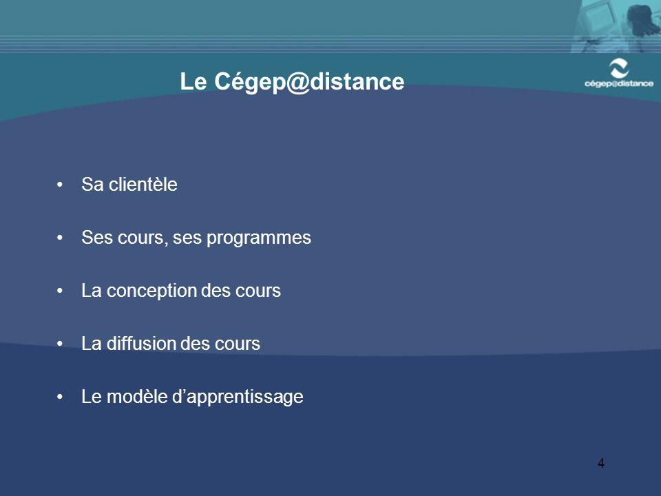 4 Le Cégep@distance Sa clientèle Ses cours, ses programmes La conception des cours La diffusion des cours Le modèle dapprentissage