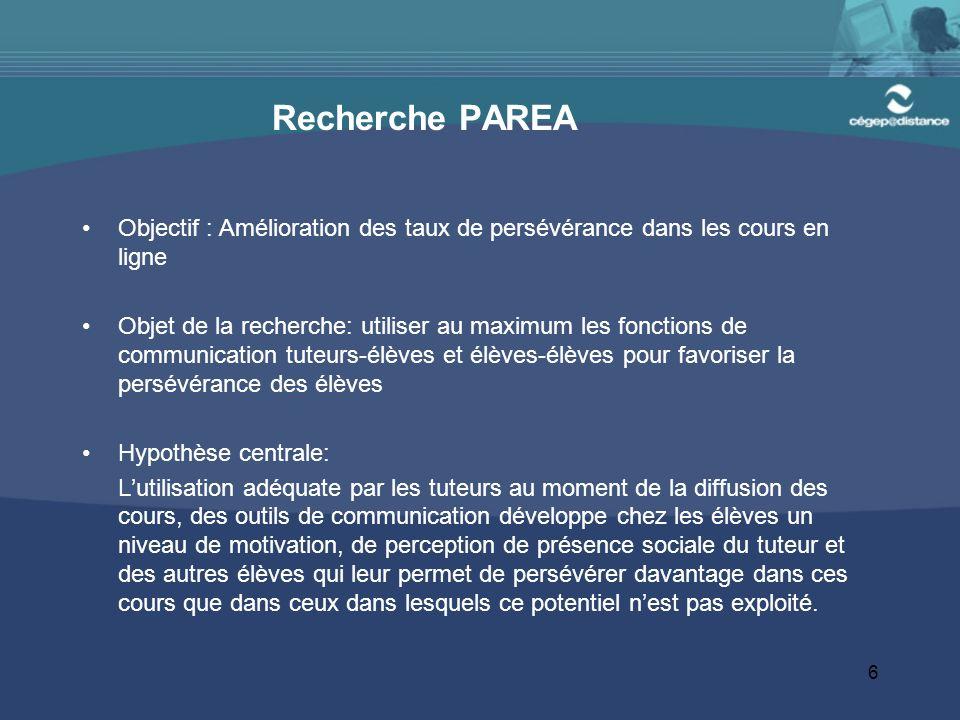 6 Recherche PAREA Objectif : Amélioration des taux de persévérance dans les cours en ligne Objet de la recherche: utiliser au maximum les fonctions de