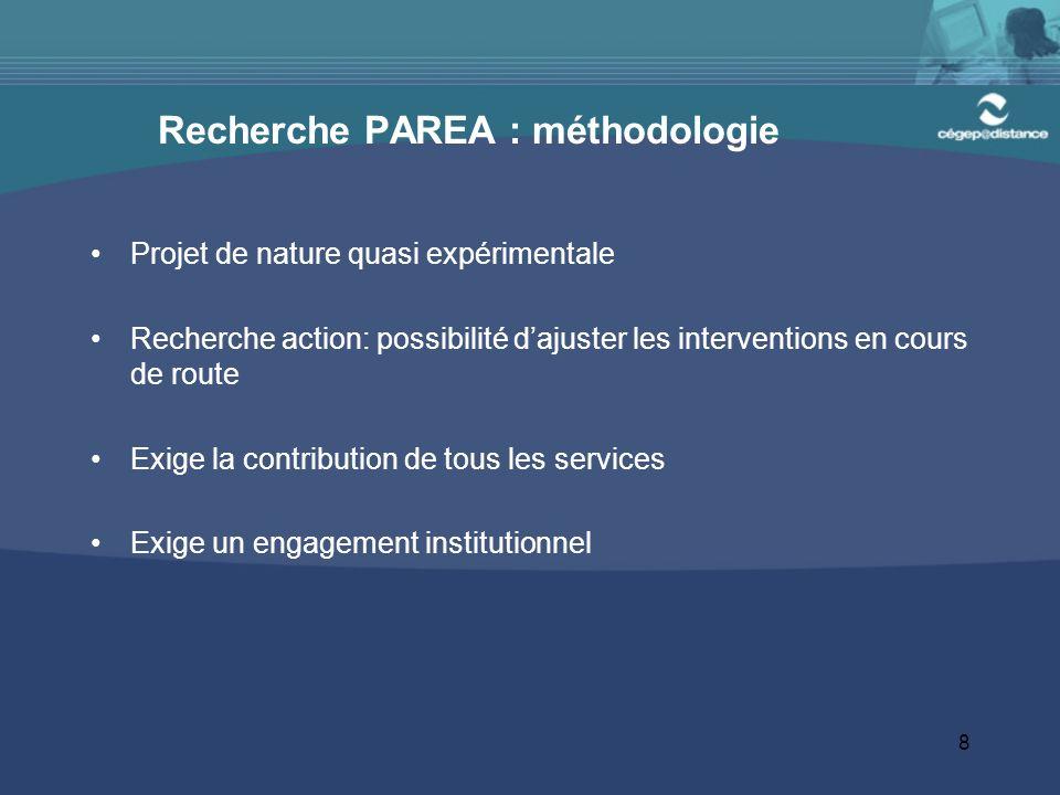 8 Recherche PAREA : méthodologie Projet de nature quasi expérimentale Recherche action: possibilité dajuster les interventions en cours de route Exige
