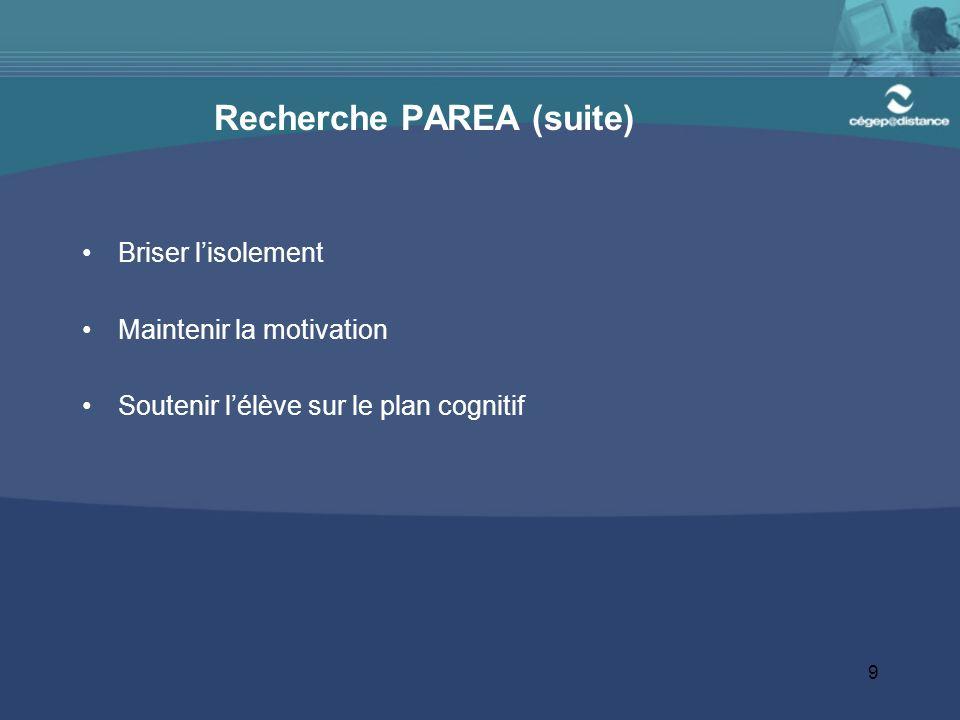 9 Recherche PAREA (suite) Briser lisolement Maintenir la motivation Soutenir lélève sur le plan cognitif