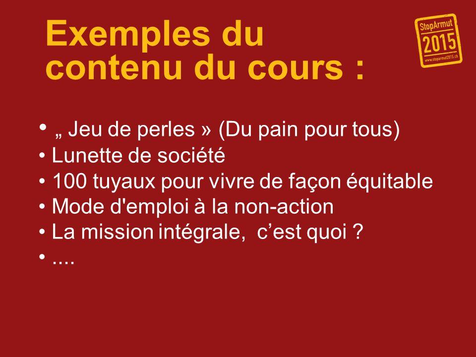 Exemples du contenu du cours : Jeu de perles » (Du pain pour tous) Lunette de société 100 tuyaux pour vivre de façon équitable Mode d'emploi à la non-