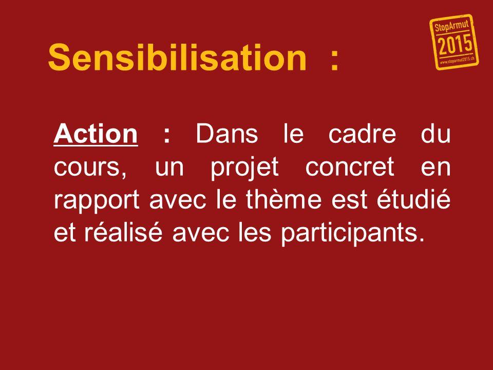 Sensibilisation : Action : Dans le cadre du cours, un projet concret en rapport avec le thème est étudié et réalisé avec les participants.