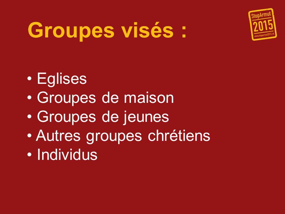 Groupes visés : Eglises Groupes de maison Groupes de jeunes Autres groupes chrétiens Individus