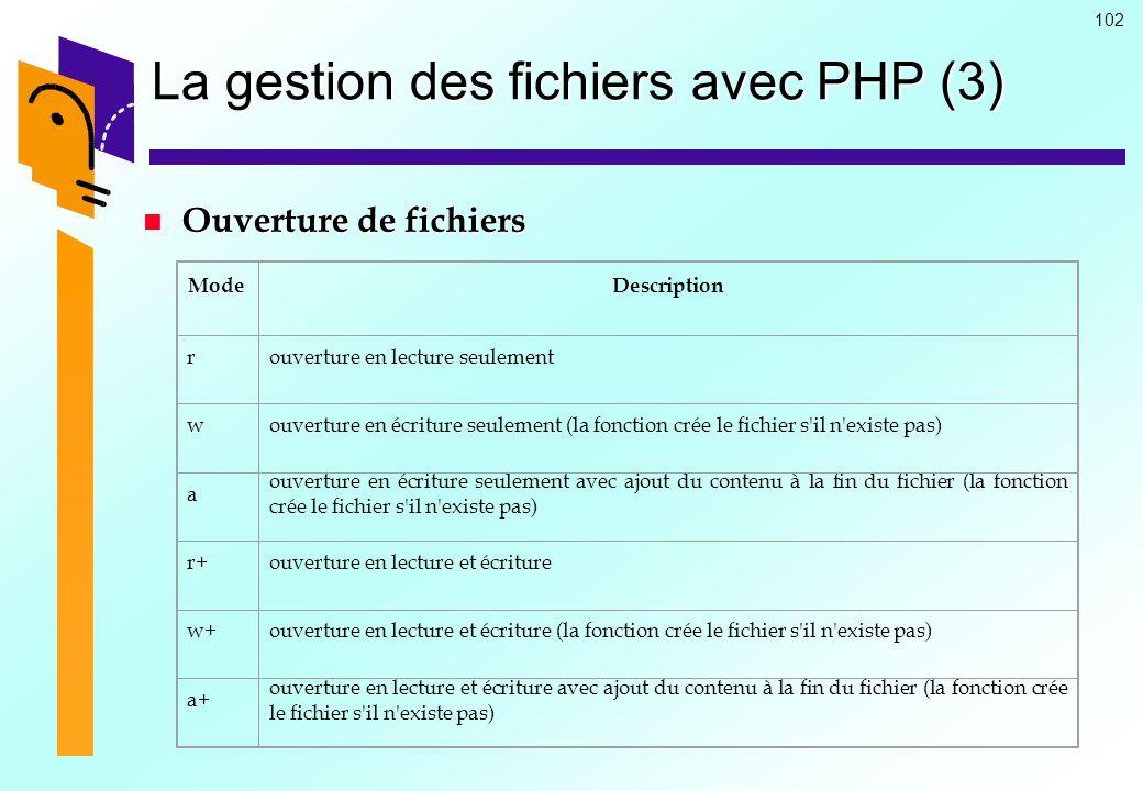 102 La gestion des fichiers avec PHP (3) Ouverture de fichiers Ouverture de fichiers ModeDescription rouverture en lecture seulement wouverture en écr