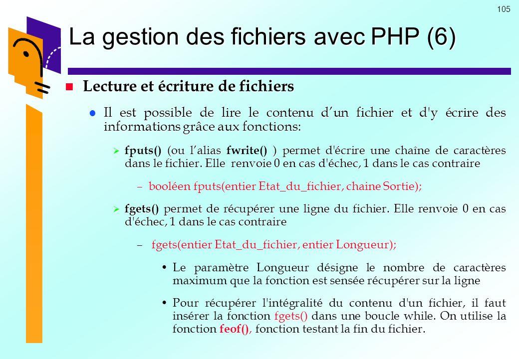 105 La gestion des fichiers avec PHP (6) Lecture et écriture de fichiers Lecture et écriture de fichiers Il est possible de lire le contenu dun fichie