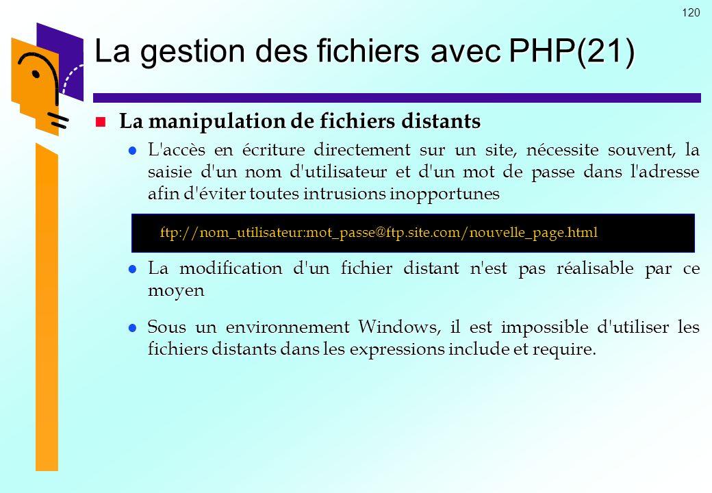 120 La gestion des fichiers avec PHP(21) La manipulation de fichiers distants La manipulation de fichiers distants L'accès en écriture directement sur