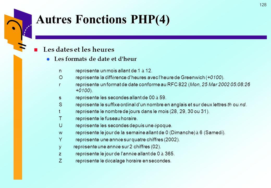 128 Autres Fonctions PHP(4) Les dates et les heures Les formats de date et d'heur nrepr é sente un mois allant de 1 à 12. Orepr é sente la diff é renc