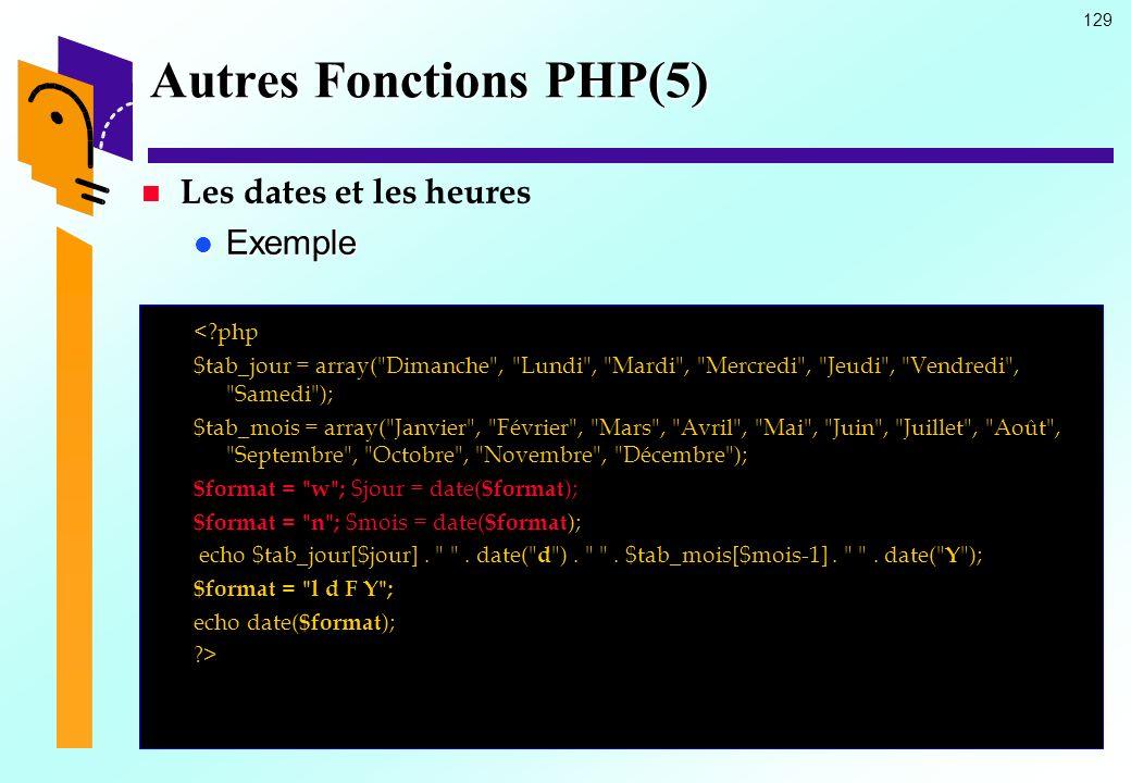 129 Autres Fonctions PHP(5) Les dates et les heures Exemple Exemple <?php $tab_jour = array(