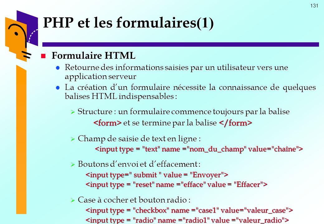 131 PHP et les formulaires (1) Formulaire HTML Formulaire HTML Retourne des informations saisies par un utilisateur vers une application serveur Retou