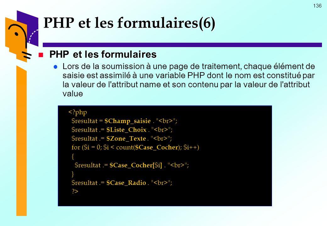 136 PHP et les formulaires(6) PHP et les formulaires PHP et les formulaires Lors de la soumission à une page de traitement, chaque élément de saisie e