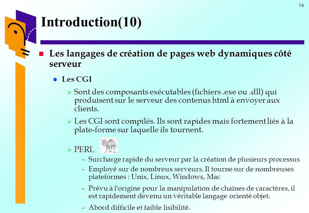 14 Introduction(10) Les langages de création de pages web dynamiques côté serveur Les langages de création de pages web dynamiques côté serveur Les CG