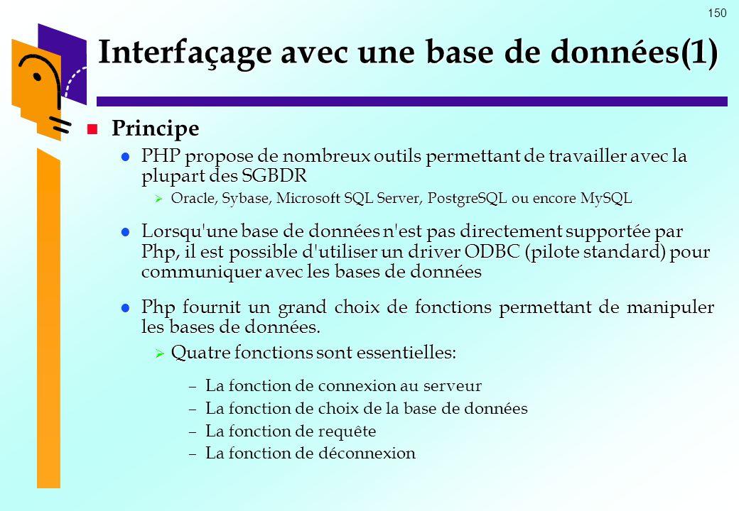 150 Interfaçage avec une base de données(1) Principe Principe PHP propose de nombreux outils permettant de travailler avec la plupart des SGBDR PHP pr