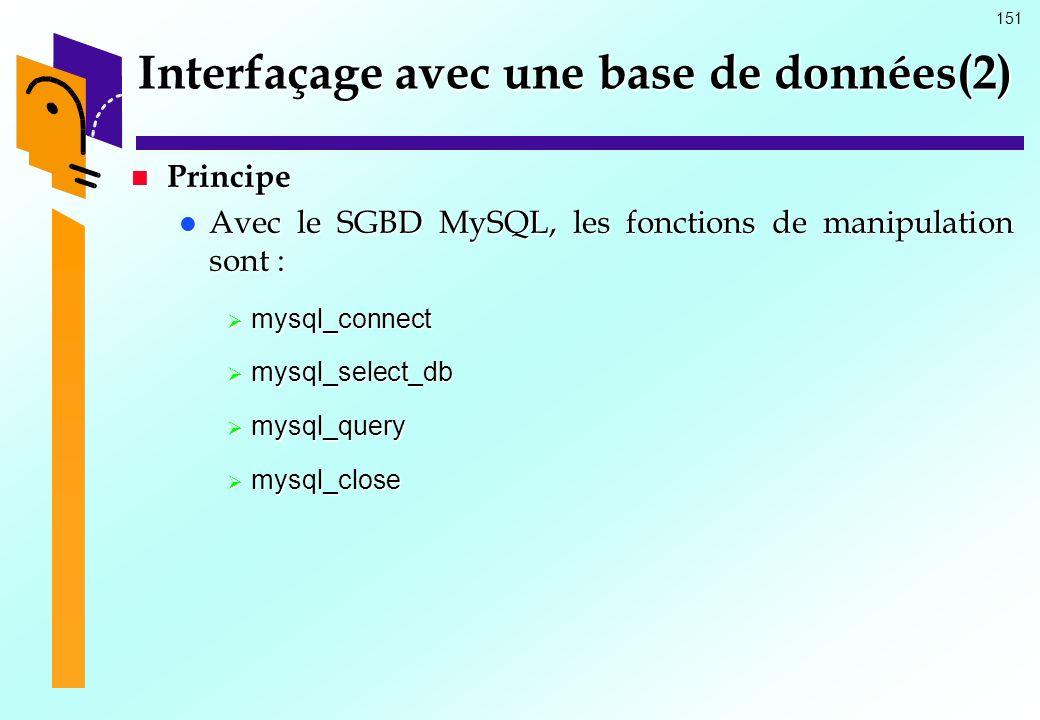 151 Interfaçage avec une base de données(2) Principe Principe Avec le SGBD MySQL, les fonctions de manipulation sont : Avec le SGBD MySQL, les fonctio