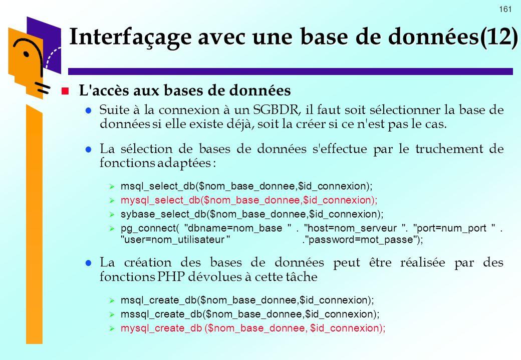 161 Interfaçage avec une base de données(12) L'accès aux bases de données Suite à la connexion à un SGBDR, il faut soit sélectionner la base de donnée