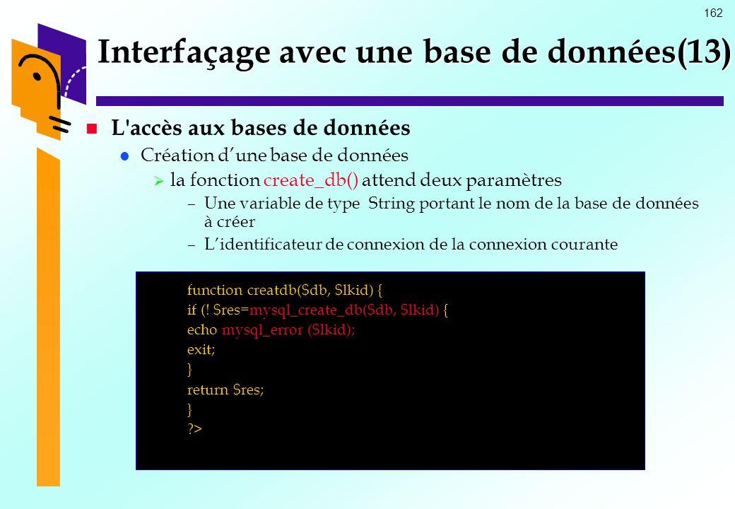 162 Interfaçage avec une base de données(13) L'accès aux bases de données Création dune base de données la fonction create_db() attend deux paramètres